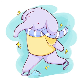 Éléphant dessiné main mignon jouant au patin à glace