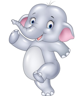 Éléphant drôle de dessin animé isolé sur fond blanc