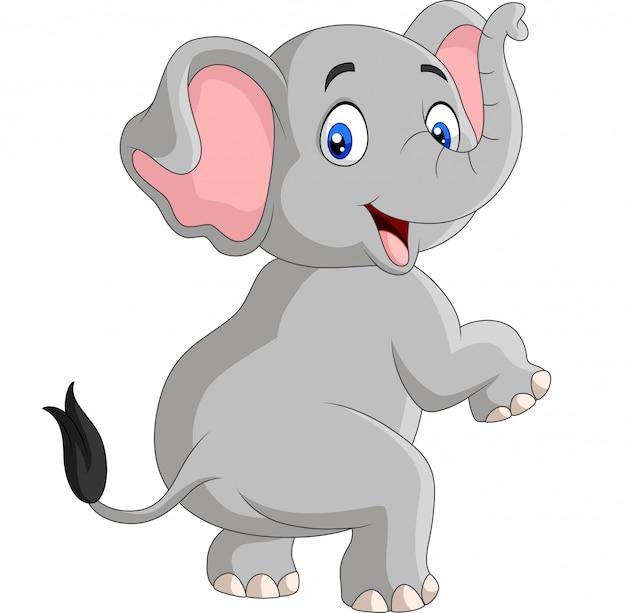 Éléphant drôle de dessin animé isolé