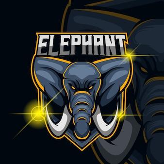 Éléphant esport logo template design illustration vectorielle