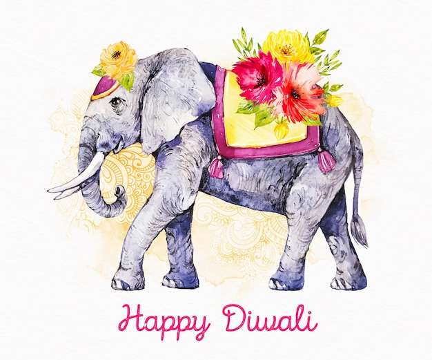 Éléphant floral happy diwali événement