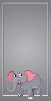 Éléphant sur gabarit gris