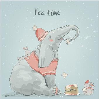 Éléphant d'hiver de dessin animé mignon avec de petits lièvres blancs
