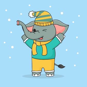 Éléphant d'hiver mignon portant un chapeau