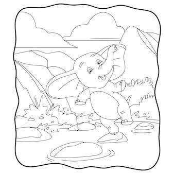 Éléphant d'illustration de dessin animé sautant sur un livre ou une page de roche de rivière pour les enfants en noir et blanc