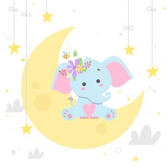 Éléphant sur illustration vectorielle de lune isolée