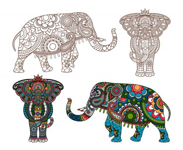 Éléphant indien de vecteur