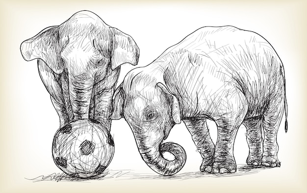 Éléphant jouant au football illustration
