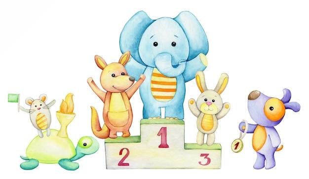Éléphant, kangourou, lapin, tortue, souris, passerelle, tasse. aquarelle.