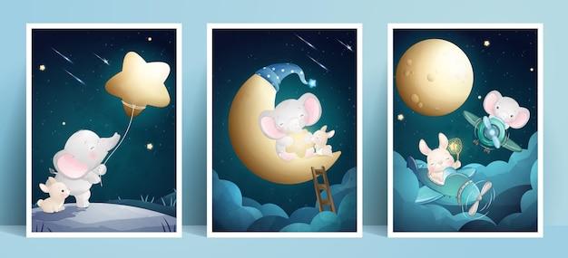 Éléphant et lapin mignon doodle avec collection de cadres
