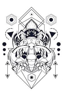 Éléphant mammouth carte géométrie sacrée