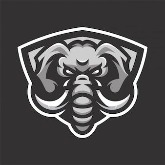 Elephant mascot head sport logo