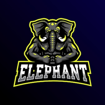 Éléphant mascotte logo esport gaming illustration