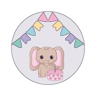 Éléphant mignon avec anniversaire de gâteau et guirlandes