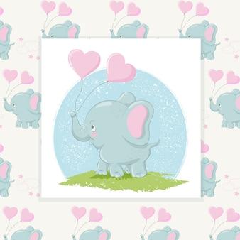 Éléphant mignon avec des ballons coeurs et un motif