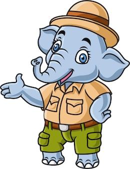 Éléphant mignon de bande dessinée portant le costume de safari