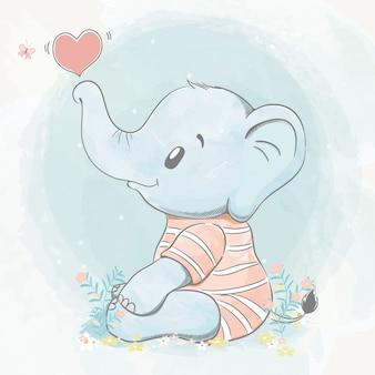 Éléphant mignon bébé avec bulle de coeur eau couleur dessin animé dessiné à la main illustration