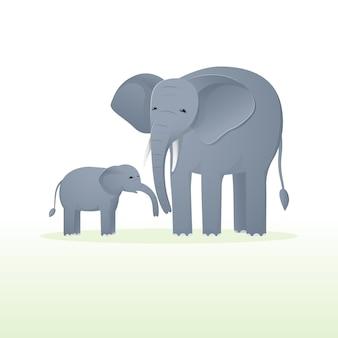 Éléphant mignon avec bébé éléphant. caricature plate de la faune animale.