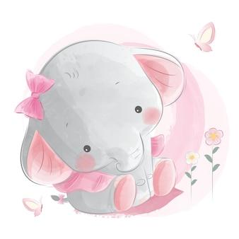 Éléphant mignon bébé fille