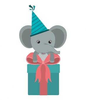 Éléphant mignon avec boîte-cadeau