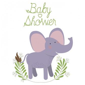 Éléphant mignon avec carte de douche de bébé guirlande