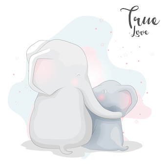 Éléphant mignon couple romantique