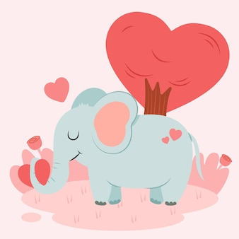 Éléphant mignon dans la nature avec coeur et arbres en forme de coeur