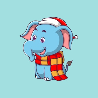 Éléphant mignon de dessin animé isolé sur bleu