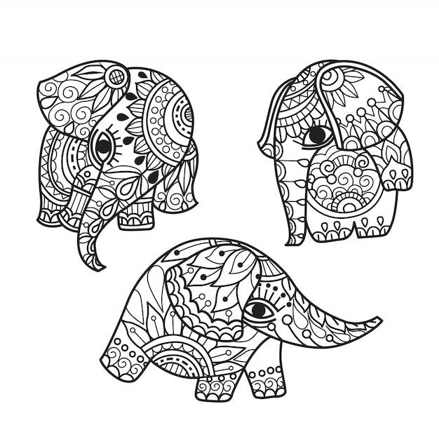 Éléphant mignon dessiné à la main