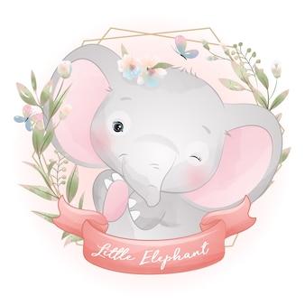 Éléphant mignon doodle avec illustration florale