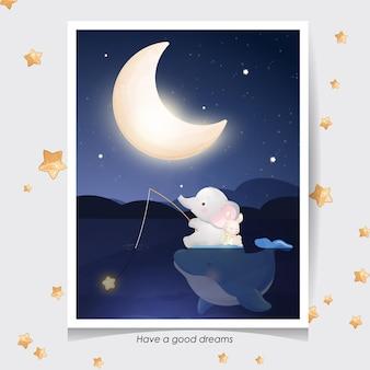 Éléphant mignon doodle et petit lapin avec illustration aquarelle