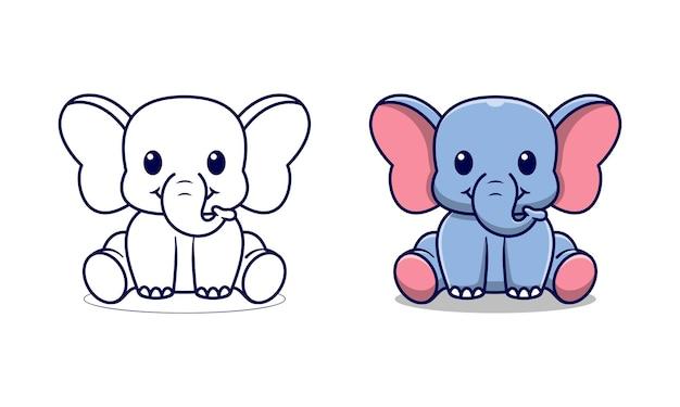 Éléphant mignon est assis pages de coloriage de dessin animé pour les enfants
