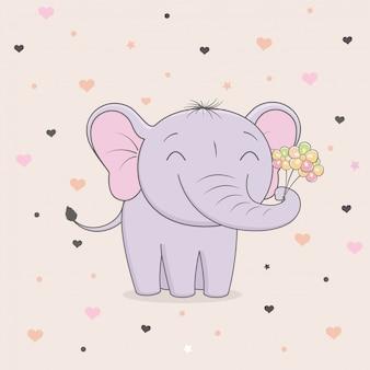 Éléphant mignon avec des fleurs sur fond de coeurs.