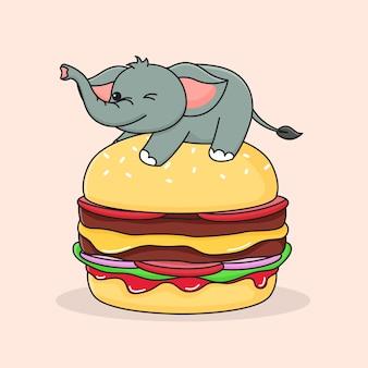 Éléphant mignon sur le hamburger