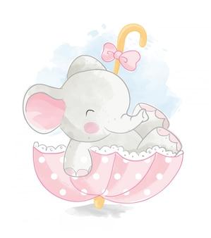 Éléphant mignon en illustration de parapluie