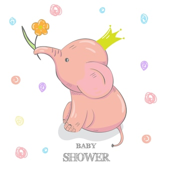 Éléphant mignon avec une illustration de vecteur dessinés à la main fleur dessin animé