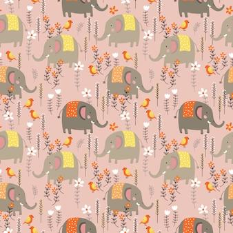 Éléphant mignon en jacquard sans soudure de champ de fleurs sauvages.