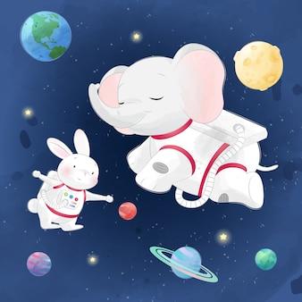 Éléphant mignon et lapin dans la galaxie