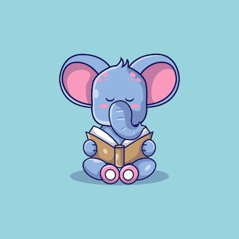 Éléphant mignon a lu une illustration de dessin animé de livre