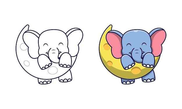 Éléphant mignon sur la lune coloriage de dessin animé pour les enfants
