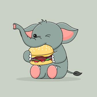 Éléphant mignon, manger un hamburger