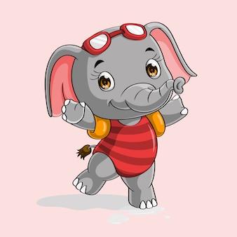 Éléphant mignon prêt à nager dessiné à la main