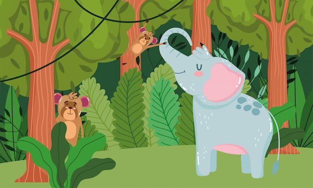 Éléphant mignon et singes sur forêt verte