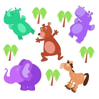 Éléphant mignon et son ami isolé dessin animé
