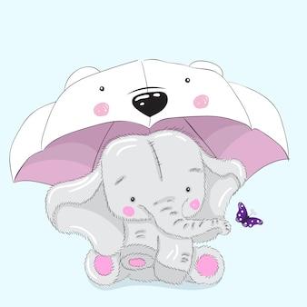 Éléphant mignon sous dessin animé de parapluie dessinés à la main