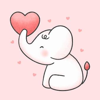 Éléphant mignon tenant le style dessiné à la main de dessin animé de coeur