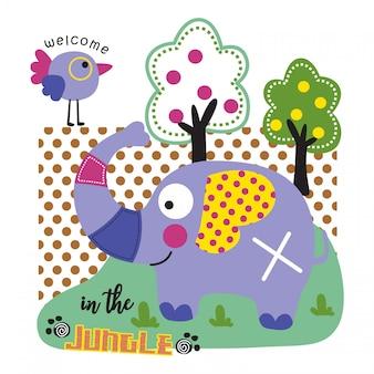 Éléphant et oiseau, sauver la jungle dessin animé animal drôle, illustration