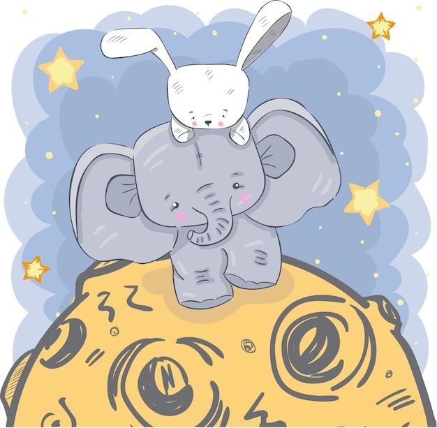 Éléphant en peluche et lapin sur la lune, dessinés à la main