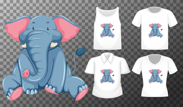 Éléphant en position assise personnage de dessin animé avec de nombreux types de chemises sur fond transparent