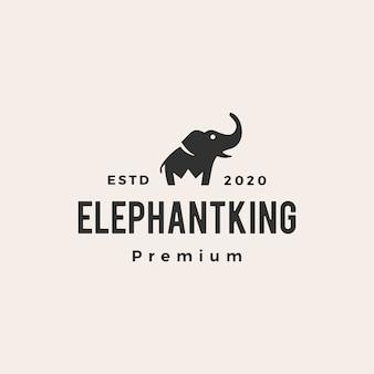 Éléphant roi couronne hipster logo vintage icône illustration